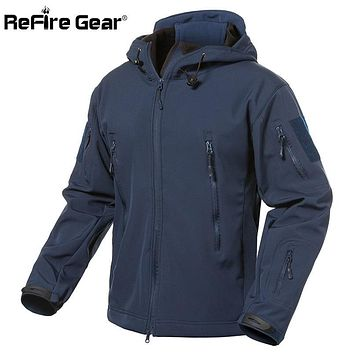 Trendy ReFire Gear Navy Blue Soft Shell Military Jacket Men Waterproof Army Tactical Jacket Coat Winter Warm Fleece Hooded Windbreaker AT_94_13