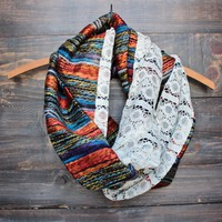 bohemian tapestry + lace infinity scarf