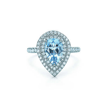 Tiffany & Co. - Tiffany Soleste® ring in platinum with an aquamarine and diamonds.