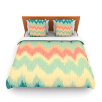 "Nika Martinez ""Ikat Chevron II"" Teal Lightweight Duvet Cover"
