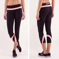 Lululemon Women Gym Elastic Yoga Sweatpants Sports Tight Running Pants Trousers