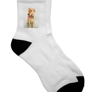 Golden Retriever Watercolor Adult Short Socks
