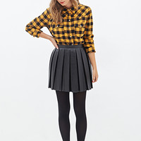 FOREVER 21 Check Plaid Western Shirt Mustard/Black
