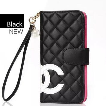 CHANEL iphone 6s protection iphone 7plus wallet Black+rose red