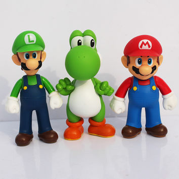 3pcs/set Super Mario Bros PVC Figure Toys 13cm Luigi Mario Yoshi Action Figures Model Toys Free Shipping