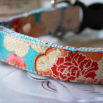 Japanese kimono design turquoise blue Dog Collar 3/4 Inch Wide