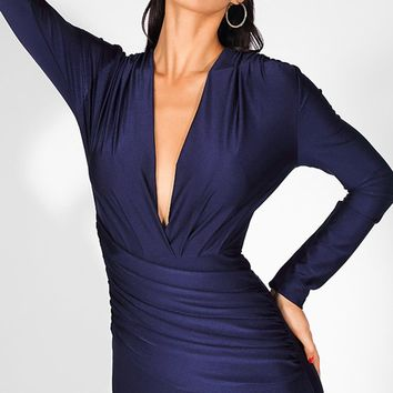 Indigo Magic Navy Blue Long Sleeve Ruched Plunge V Neck Mermaid Maxi Dress