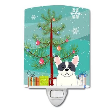 Merry Christmas Tree French Bulldog Piebald Ceramic Night Light BB4136CNL