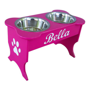 Elevated Dog Bowl Holder Personalized