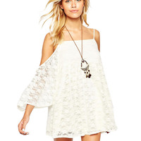 Off-Shoulder Lace Bell Sleeve A-Line Mini Dress