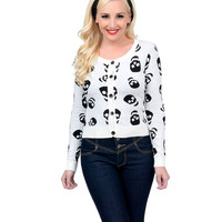 White & Black Lust for Skulls Sweater
