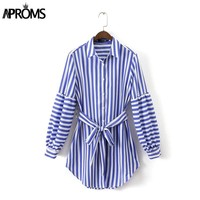 Blue Striped Office Shirt Dress Women Fall Fashion Long Sleeve Casual Tie Belt Tunic Dresses Female