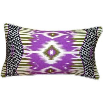 Pre-owned Pillow Decor - Electric Ikat Purple 15x27 Pillow