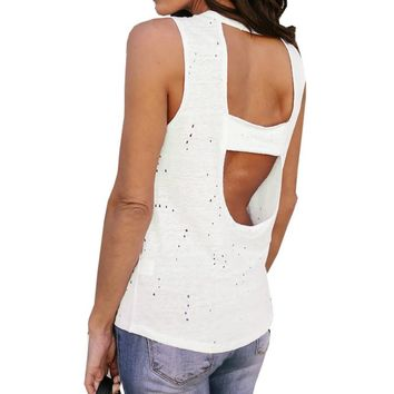 Women's Backless Solid T Shirts