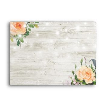 Rustic Wood White Rose Floral String Light Wedding Envelope
