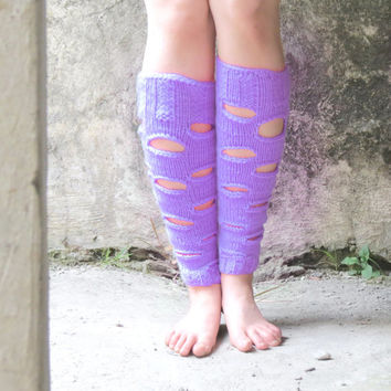 Knee Socks thigh high sock for Womens Boot Socks Warm Winter Leg wear, Rip Socks, Boot Cuffs, For Teens, Knit Accessory, lavender legwarmers