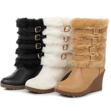 Faux Fur Mid-Calf Boots | Wedge Heels Snow Boots