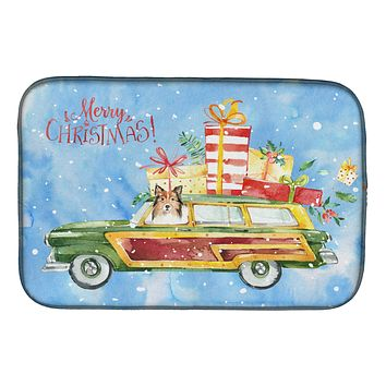 Merry Christmas Sheltie Dish Drying Mat CK2421DDM