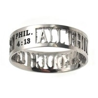 "Christian Women's Stainless Steel Abstinence 6mm ""All Things Through Christ"" Philippians 4:13 Cutout Mini Silhouette Chastity Ring for Girls - Girls Purity Ring"