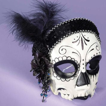 Day Of The Dead Skull Flapper Mask