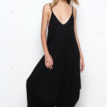 Slouchy Harem One Piece Jumpsuit - Black