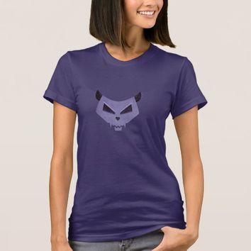 Purple Evil Cat Skull Dark Female T-Shirt