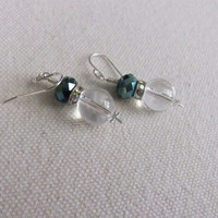 Crystal, Glass, and Sterling Silver Dragonfly Earrings