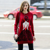 Glam Girl Print Pullover Knitted Sweater
