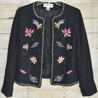 ORVIS Size 6 Charcoal Gray Lined Jacket Embroidered Flowers Blazer Open Front