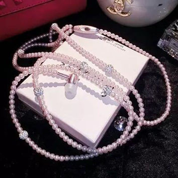 Jewelry Pearl Necklace Earphones Stereo Headset Beads 3.5mm Pink for IOS/Android Cell Phone Accessories