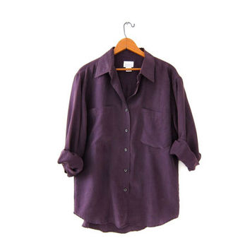 Vintage purple silk shirt. long sleeve silk top. slouchy silk blouse.