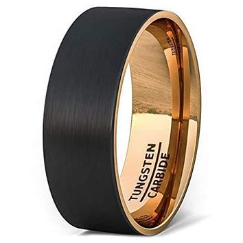 Black Tungsten Wedding Band For Men With Rose Gold Inside Brushed Flat Edge - 8mm