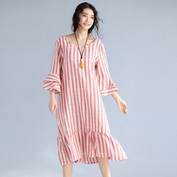 2017 Plus Size Women Cotton Linen Dress Vintage Female Stripe Loose Tunic Straight Long Dress Kaftan Robe Spring Summer New