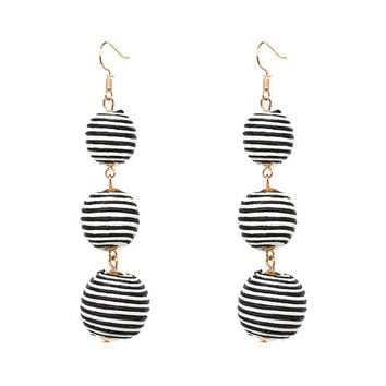 Triple Ball Thread Wrapped Earrings / Long Drop Earrings