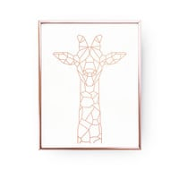 Giraffe Print, Geometric Giraffe, Giraffe Art, Rose Gold Foil, Giraffe Wall Art, Animal Poster, Rose Gold Nursery Print, Animal Decor, 8x10