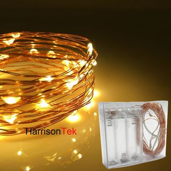 10x5M/50 battery operated LED holiday lights Christmas decor mini silver copper wire invisible fairy starry twinkle string light