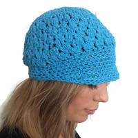 Blue newsboy cap, crochet visor hat, cotton yarn beanie, spring summer wear, crocheted brim, baseball hat, teen girls, sun beach accessory