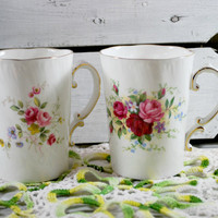 Set of 2 Tea Cups in Porcelain , Pink and Red Roses by Adderley , Chic Floral Tea Set