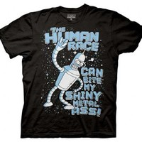 Futurama The Human Race Can Bite My Shiny Metal Ass Black Adult T-shirt  - Futurama - | TV Store Online