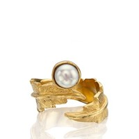 Gold Pearl Feather Pinky Ring | LeiVanKash | Avenue32