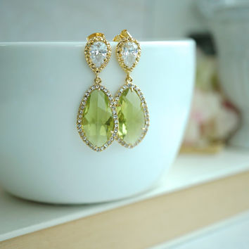 LUX Gold Plated Cubic Zirconia Lime Green, Chartreuse Green, Citrus Green Teardrop Earrings. 925 Ear Post. Bridal Jewelry. Wedding Earrings