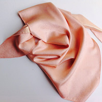 Salmon coral silk scarf, Peach Silk Holiday gift scarf, Sorbet Coral Neck bandana, Gift for Bride, Winter Festive Fashion Scarf