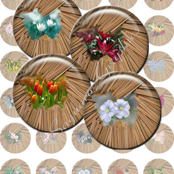 FLORAL STICKS - 1.5 inch Printable Digital Artwork for Pendants, Jewelry Makers, Bottle Caps, Stickers, Arts and Crafts
