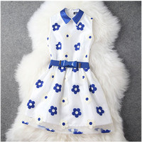 Embroidered Dress with Blue and White Daisy