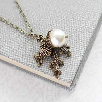 White Pearl Pendant Necklace Pearl Acorn Charm Nature Inspired Pinecone Branch Leaf Rustic Oak Woodland Wedding Autumn Jewelry Bridesmaids