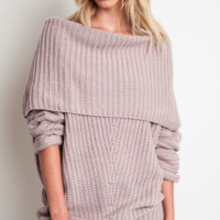 Foldover Ribbed Sweater - Lt Mauve