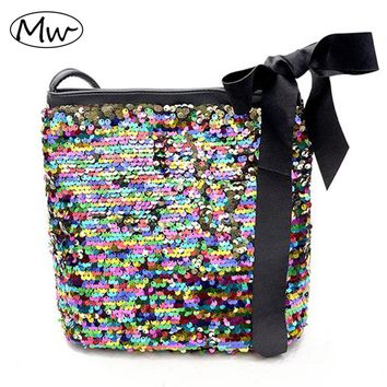 Moon Wood Moon Wood Colorful Sequins Bucket Bag With Black Scarves Women PU Leather One Shoulder Bag Crossbody Bags For Girls