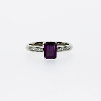 emerald cut Iolite engagement ring, white gold ring, solitaire ring, diamond ring, purple engagement, tanzanite alternative, unique