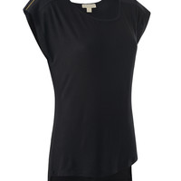 Womens Lightweight Scoop Neck Tunic Top with Zipper