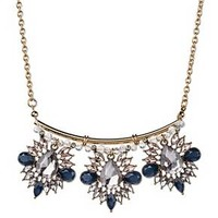 "Women's Cluster Statement Necklace with Three Stone Clusters - Multi/Gold (16"")"